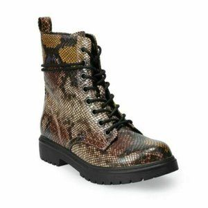 SO Bowfin Combat Boots Snake Zipper & Lace Up Sz 8